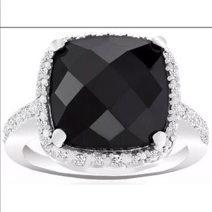 Jewelry - New - Black Onyx & Diamond Accent Ring - 7